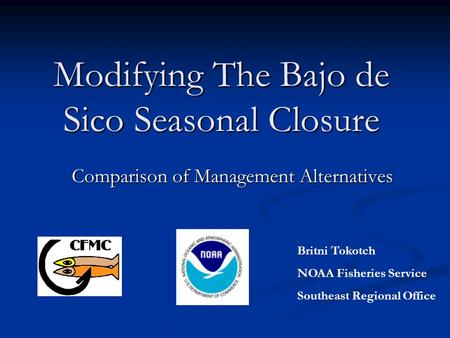 Modifying The Bajo de Sico Seasonal Closure Comparison of Management Alternatives Britni Tokotch NOAA Fisheries Service Southeast Regional Office.
