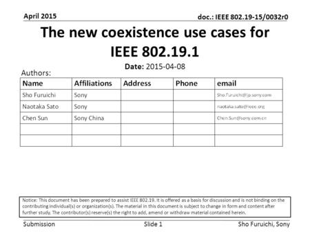 Submission doc.: IEEE 802.19-15/0032r0 April 2015 Sho Furuichi, SonySlide 1 The new coexistence use cases for IEEE 802.19.1 Date: 2015-04-08 Authors: Notice: