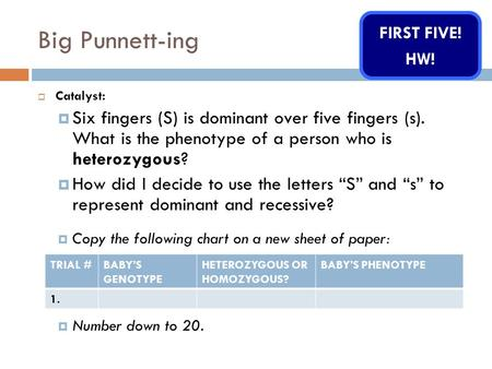 Big Punnett-ing  Catalyst:  Six fingers (S) is dominant over five fingers (s). What is the phenotype of a person who is heterozygous?  How did I decide.