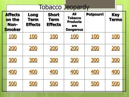 Affects on the Non- Smoker Long Term Effects Short Term Effects All Tobacco Products are Dangerous Potpourri Key Terms 100 200 300 400 500 Tobacco Jeopardy.