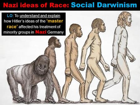 LO: To understand and explain how Hitler's ideas of the 'master race' affected his treatment of minority groups in Nazi Germany Nazi ideas of Race: Social.