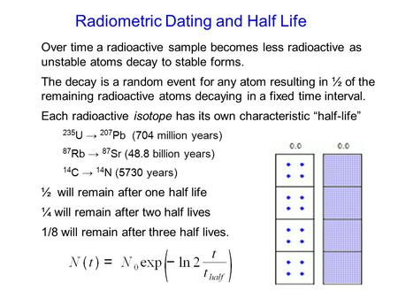 Radiometric Dating and Half Life Over time a radioactive sample becomes less radioactive as unstable atoms decay to stable forms. The decay is a random.