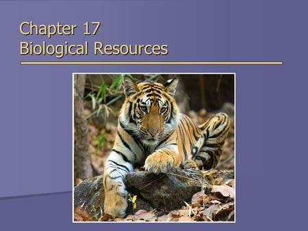Chapter 17 Biological Resources. Overview of Chapter 17  Biological Diversity  Extinction and Species Endangerment  Endangered and Threatened Species.