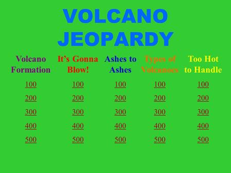 VOLCANO JEOPARDY Volcano Formation 100 200 300 400 500 It's Gonna Blow! 100 200 300 400 500 Ashes to Ashes 100 200 300 400 500 Types of Volcanoes 100 200.