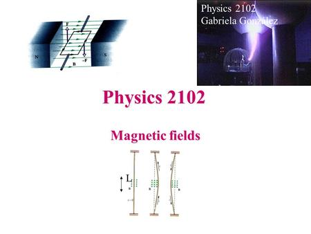 Physics 2102 Gabriela González Physics 2102 Magnetic fields L.