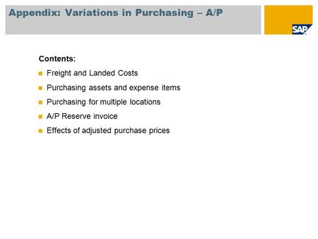 Appendix: Variations in Purchasing – A/P