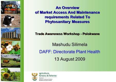An Overview of Market Access And Maintenance requirements Related To Phytosanitary Measures Trade Awareness Workshop - Polokwane Mashudu Silimela DAFF: