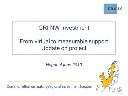 GRI NW Investment - From virtual to measurable support Update on project Common effort on making regional investment happen Hague 4 june 2010.