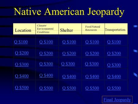 Native American Jeopardy