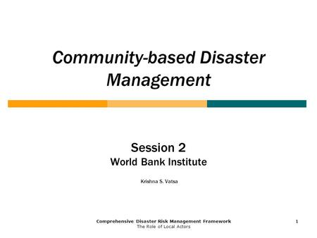 Community-based Disaster Management