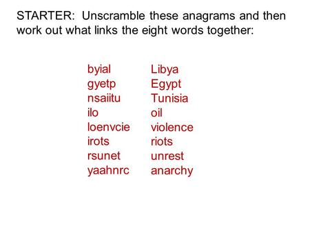 STARTER: Unscramble these anagrams and then work out what links the eight words together: byial gyetp nsaiitu ilo loenvcie irots rsunet yaahnrc Libya Egypt.