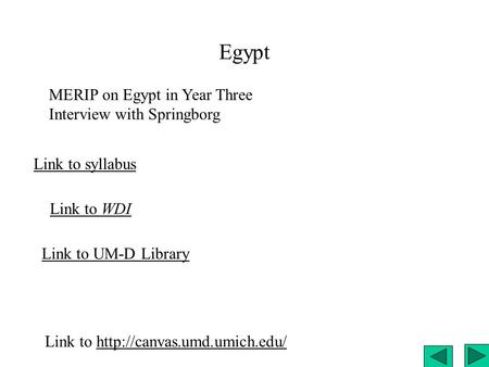 Egypt Link to syllabus Link to WDI Link to UM-D Library Link to  MERIP on Egypt in Year Three Interview.