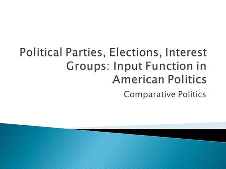 Comparative Politics.  Two party system (Democrats and Republicans regularly get 75% or more of the vote in elections)  Third parties playing a role.