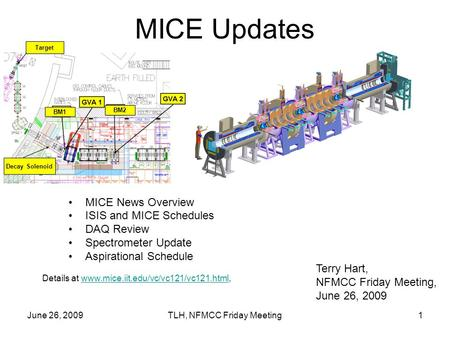 June 26, 2009TLH, NFMCC Friday Meeting1 MICE Updates MICE News Overview ISIS and MICE Schedules DAQ Review Spectrometer Update Aspirational Schedule Terry.