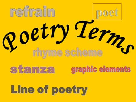 Poet: The term used for an author of poetry. Stanza: Poem paragraph Line of Poetry: Single line of words in a poem. DOES NOT need to be a complete sentence!