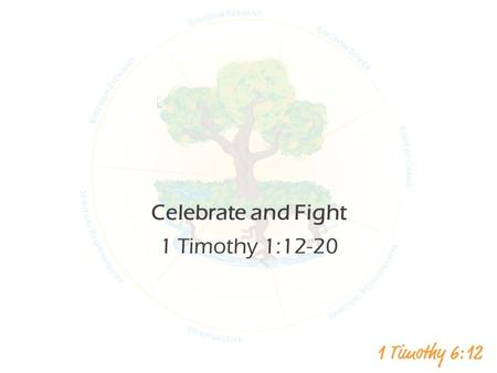 Celebrate and Fight 1 Timothy 1:12-20. vs 12 I thank Christ Jesus our Lord, who has given me strength, that he considered me trustworthy, appointing me.