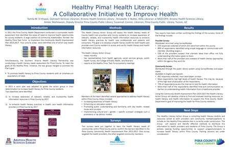 Healthy Pima! Health Literacy: A Collaborative Initiative to Improve Health Yamila M. El-Khayat, Outreach Services Librarian, Arizona Health Sciences Library.