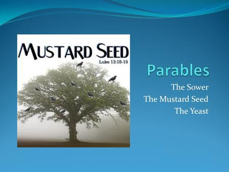 The Sower The Mustard Seed The Yeast. What is a Parable?