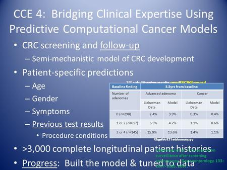 CCE 4: Bridging Clinical Expertise Using Predictive Computational Cancer Models CRC screening and follow-up – Semi-mechanistic model of CRC development.