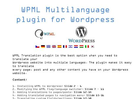 WPML Translation plugin is the best option when you need to translate your Wordpress website into multiple languages. The plugin makes it easy to translate.