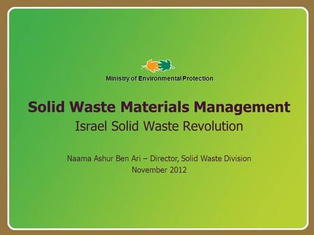 Solid <strong>Waste</strong> Materials Management