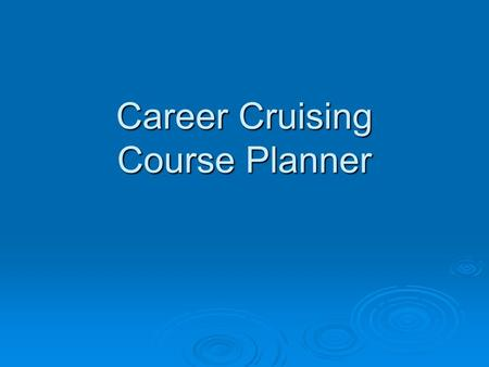 Career Cruising Course Planner