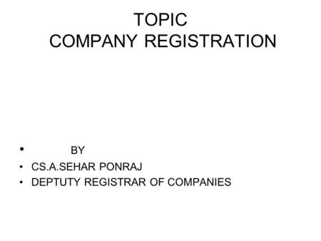 TOPIC COMPANY REGISTRATION