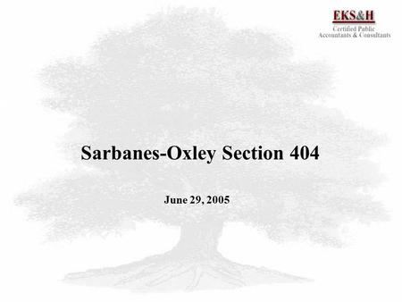 1 Sarbanes-Oxley Section 404 June 29, 2005. 2  SOX 404 Background 3  SOX 404 Goals 4  SOX 404 Requirements 5  SOX 404 Assertions 6  SOX 404 Compliance.