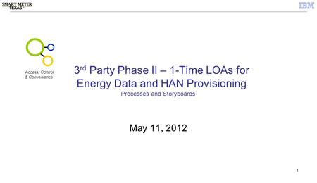 1 3 rd Party Phase II – 1-Time LOAs for Energy Data and HAN Provisioning May 11, 2012 Processes and Storyboards 'Access, Control & Convenience'
