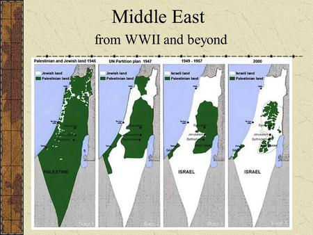 Middle East from WWII and beyond. This conflict begins after WWI, when the Ottoman Empire lost control of the Middle East. The land was divided and European.