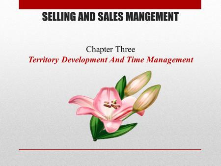 SELLING AND SALES MANGEMENT Chapter Three Territory Development And Time Management.