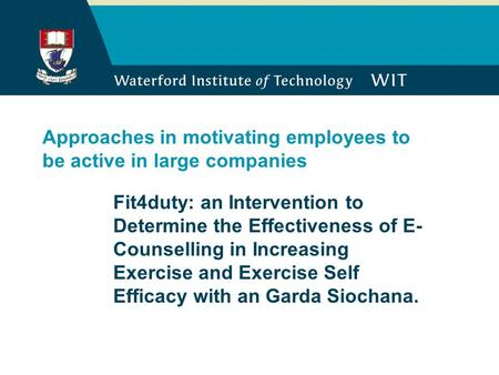 Approaches in motivating employees to be active in large companies Fit4duty: an Intervention to Determine the Effectiveness of E- Counselling in Increasing.