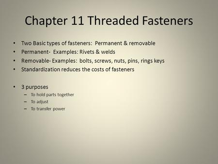 Chapter 11 Threaded Fasteners