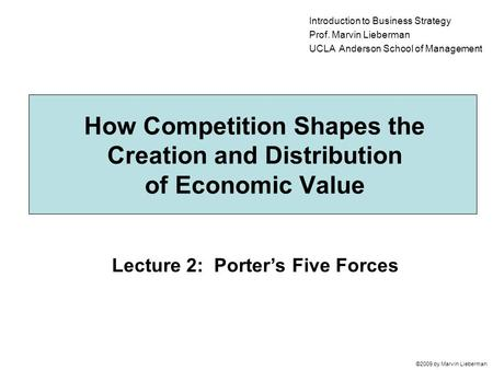 Lecture 2: Porter's Five Forces ©2009 by Marvin Lieberman How Competition Shapes the Creation and Distribution of Economic Value Introduction to Business.