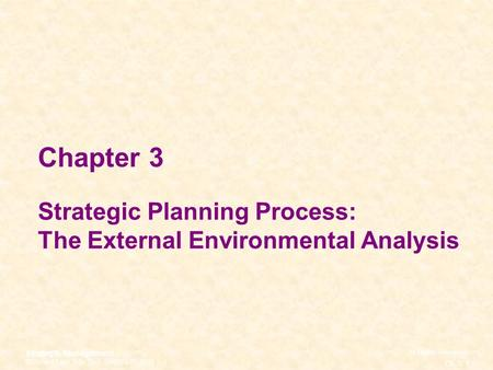 Chapter 3 Strategic Planning Process: