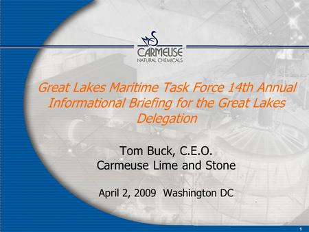 1 Great Lakes Maritime Task Force 14th Annual Informational Briefing for the Great Lakes Delegation Tom Buck, C.E.O. Carmeuse Lime and Stone April 2, 2009.