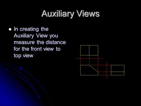 Auxiliary Views In creating the Auxiliary View you measure the distance for the front view to top view.