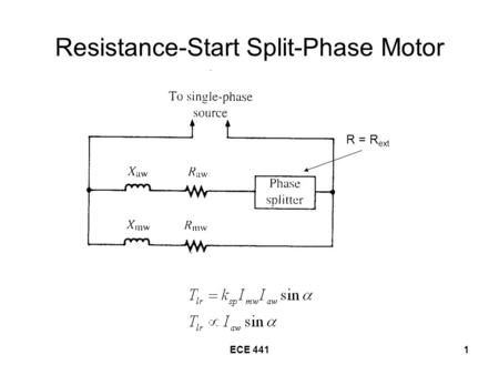 ECE 4411 Resistance-Start Split-Phase Motor R = R ext.