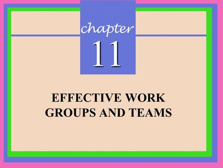 Chapter 11 EFFECTIVE WORK GROUPS AND TEAMS. CHAPTER 11 Effective Work Groups and Teams Copyright © 2002 Prentice-Hall 2.