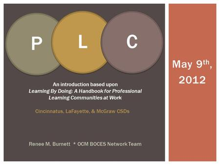 May 9 th, 2012 Renee M. Burnett * OCM BOCES Network Team An introduction based upon Learning By Doing: A Handbook for Professional Learning Communities.