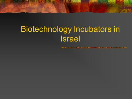 Biotechnology Incubators in Israel. The Israeli Biotechnology Market 160 companies (30% in therapeutics) 4000 employees Market valuation: $3.5 billion.
