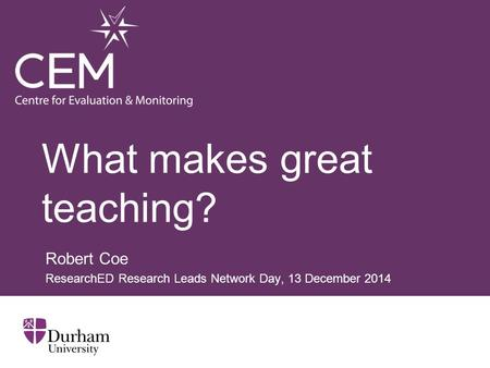 What makes great teaching?