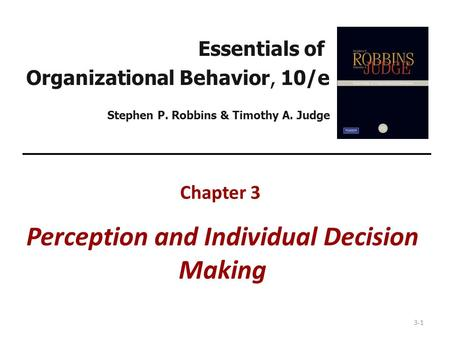Chapter 3 Perception and Individual Decision Making
