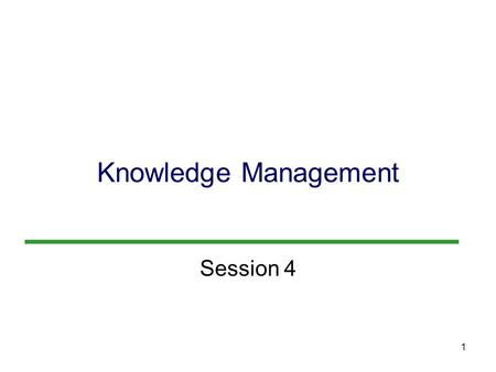 1 Knowledge Management Session 4. 2 Objectives 1.What is knowledge management? Why do businesses today need knowledge management programs and systems.