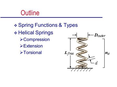 Outline  Spring Functions & Types  Helical Springs  Compression  Extension  Torsional.