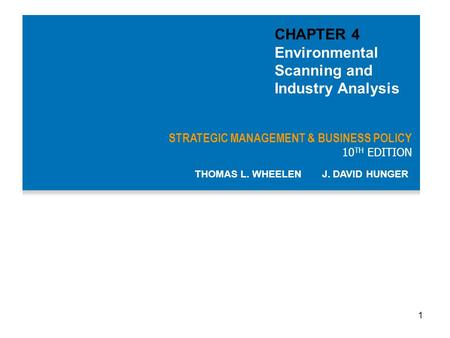 CHAPTER 4 Environmental Scanning and Industry Analysis