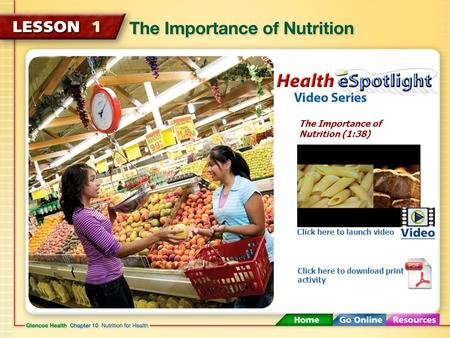 The Importance of Nutrition (1:38) Click here to launch video Click here to download print activity.