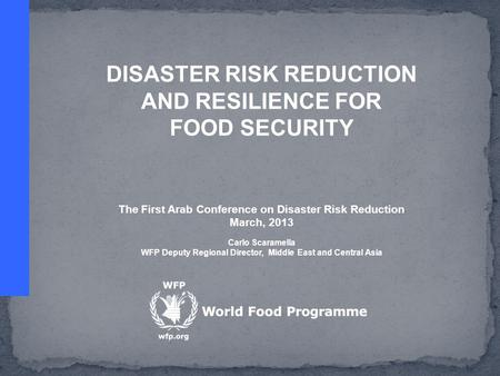 DISASTER RISK REDUCTION AND RESILIENCE FOR FOOD SECURITY The First Arab Conference on Disaster Risk Reduction March, 2013 Carlo Scaramella WFP Deputy Regional.