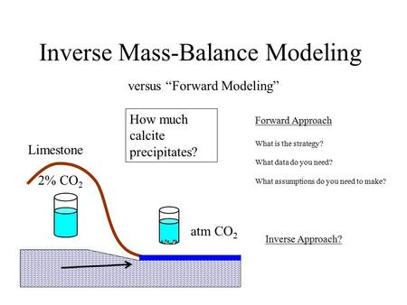 "Inverse Mass-Balance Modeling versus ""Forward Modeling"" How much calcite precipitates? 2% CO 2 atm CO 2 Forward Approach What is the strategy? What data."