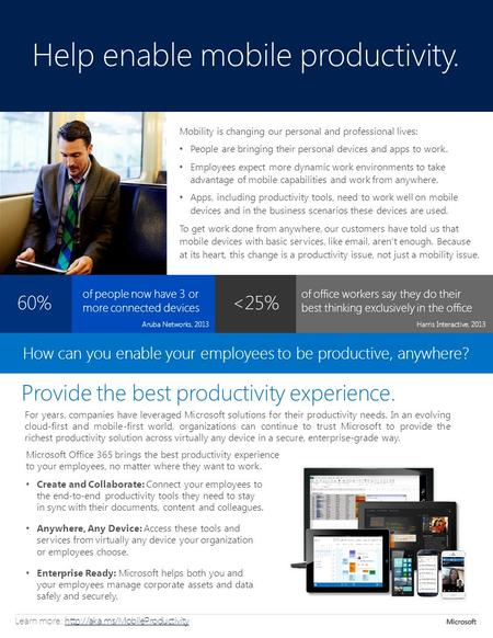 Help enable mobile productivity. For years, companies have leveraged Microsoft solutions for their productivity needs. In an evolving cloud-first and mobile-first.